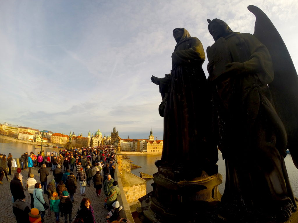 Stroll along the Charles Bridge to visit Prague Castle and the Old Town
