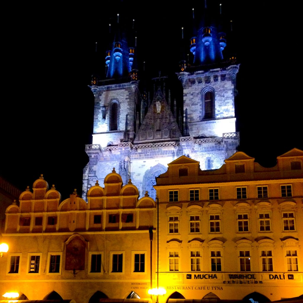 Church of Our Lady before Tyn at night in Prague