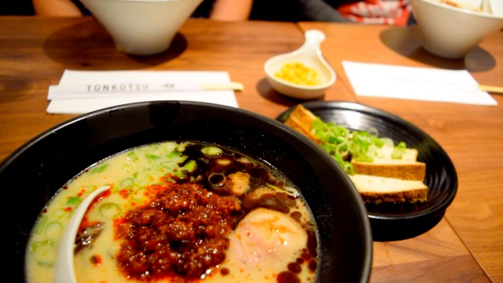 The karaka spicy ramen at Ippudo is tonkotsu-based with a kick