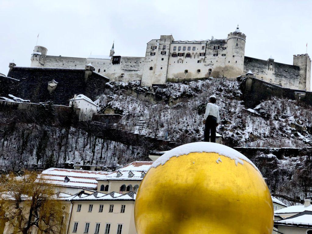 Sphaera sculpture by Stephan Balkenhol in Salzburg, Austria