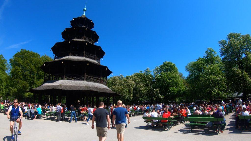 chinese tower beer garten in Munich