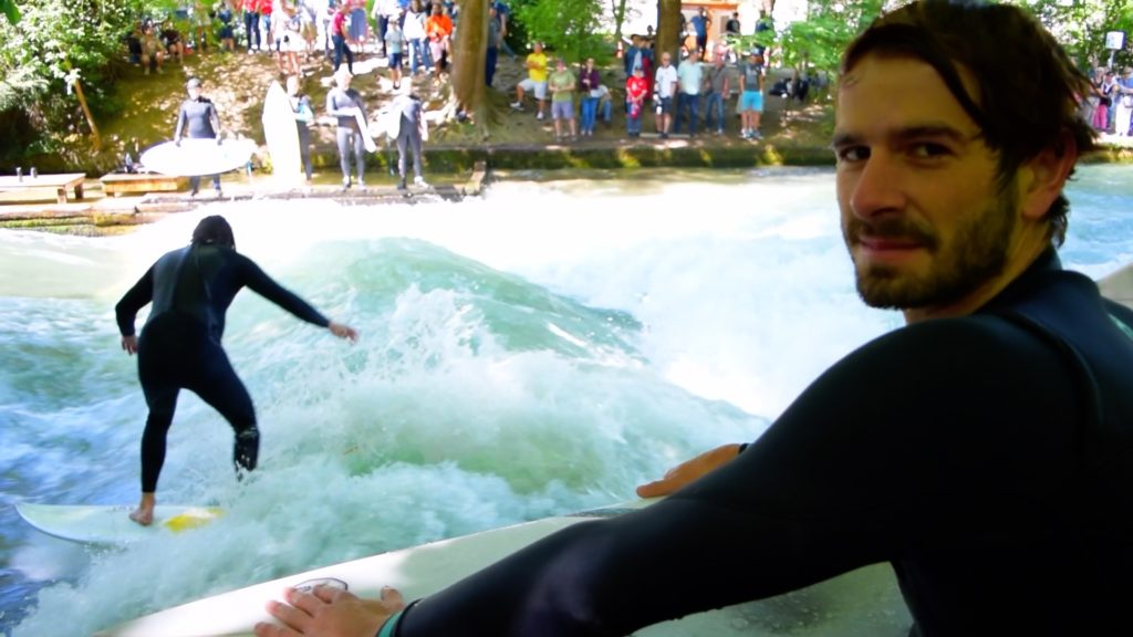 Surfers in Englischgarten in Munich, Germany