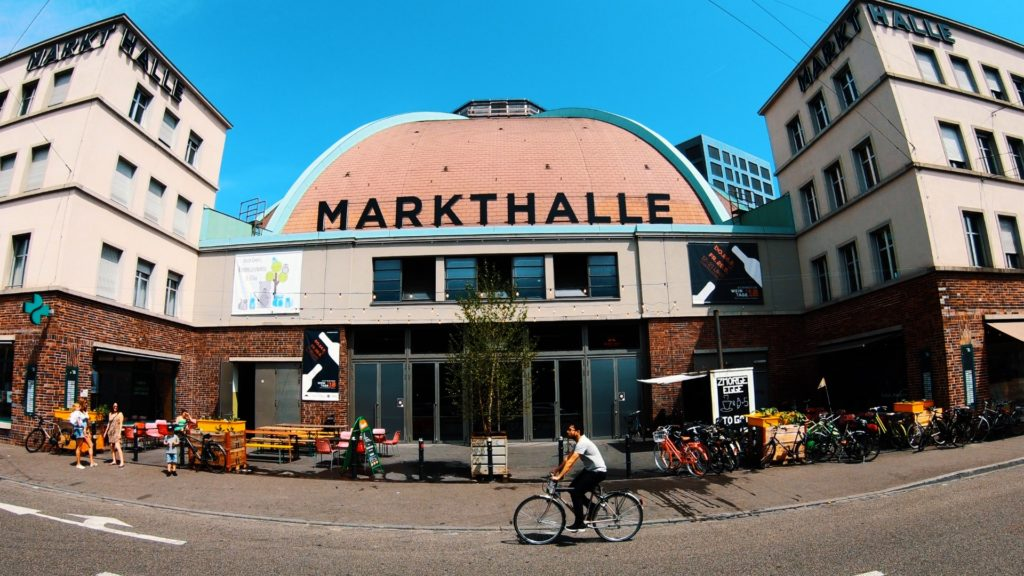 Markthalle in Basel, Switzerland has a variety of food stands
