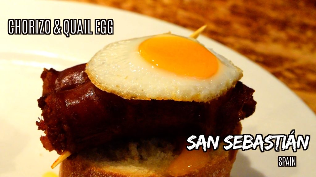 Chorizo with quail egg is a classic pintxos in San Sebastian
