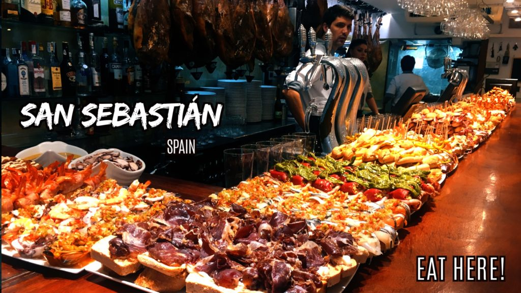 Pintxos (small bites on bread) can be found everywhere in San Sebastian
