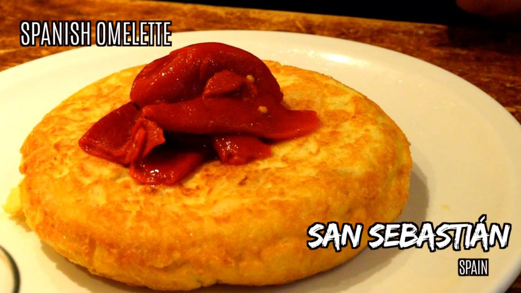 Spanish omelette with roasted red peppers is a popular pintxos in San Sebastian