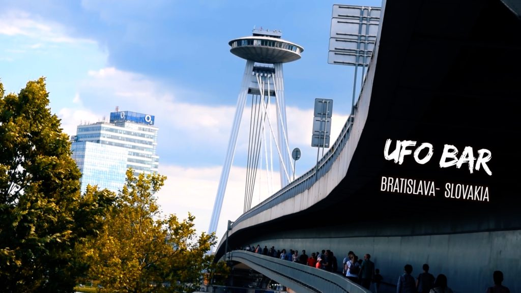 ufo bar is on top of a bridge in Bratislava