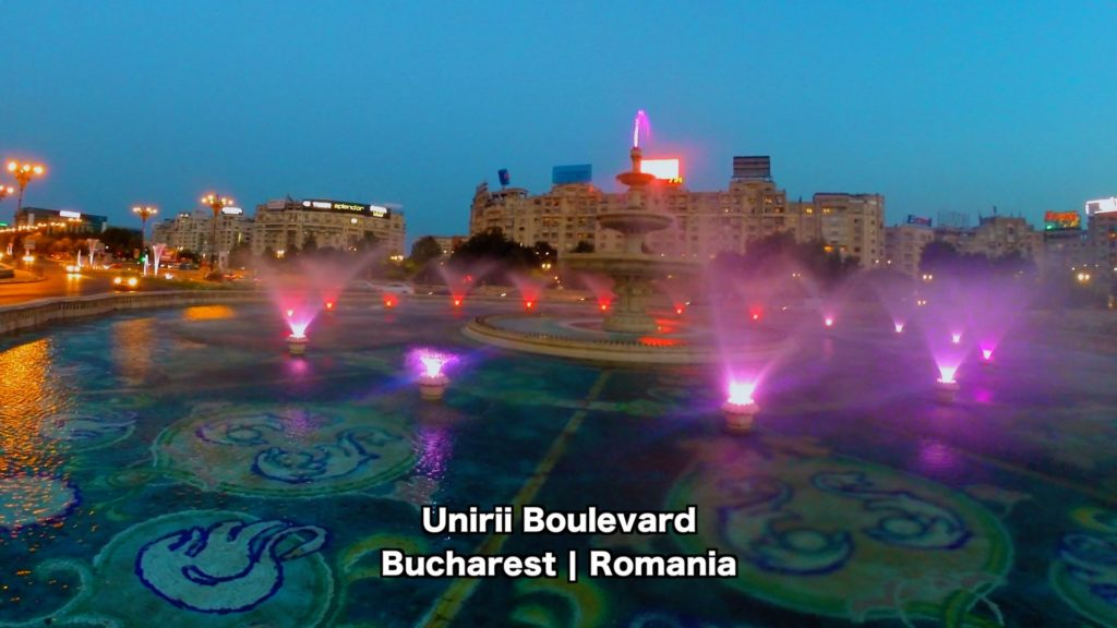 You can see the fountains light up on Unirii Boulevard in Bucharest