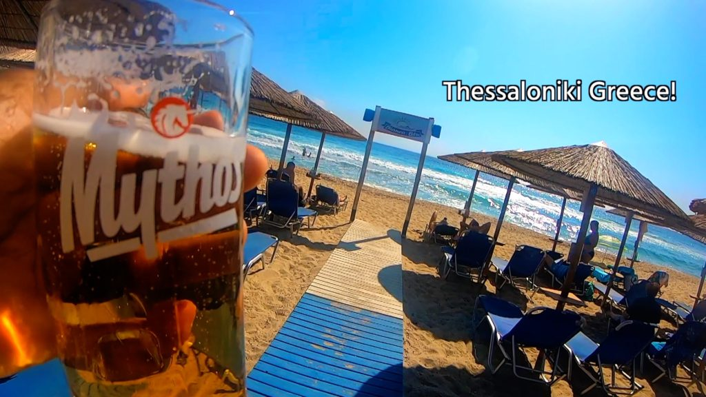 No matter where you are in Greece, you can relax on the beach with a beer