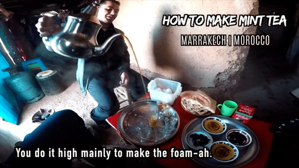 Is pouring from up high essential to making Moroccan mint tea?