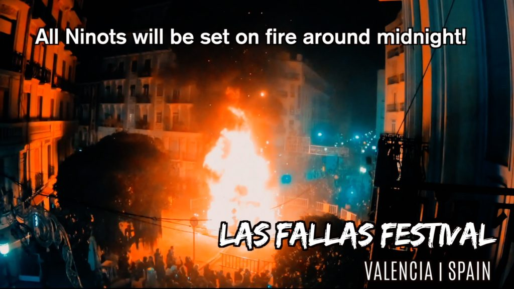 At the end of Las Fallas Festival, all the ninots burn!