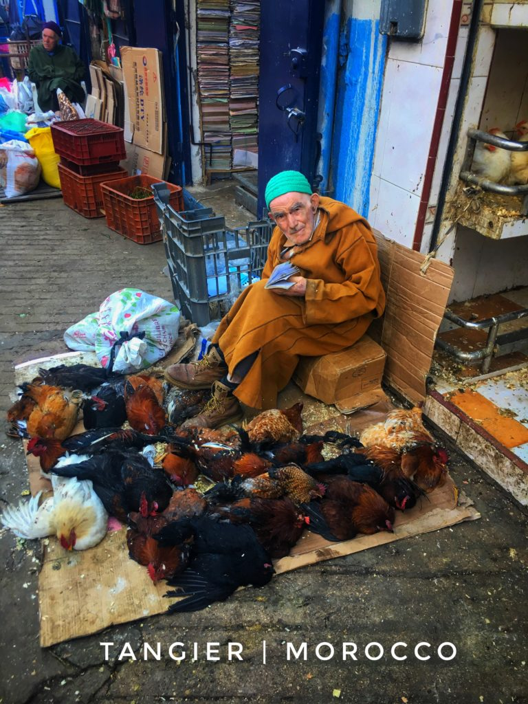 People selling chickens is just one shop you'll come across in the Tangier souk