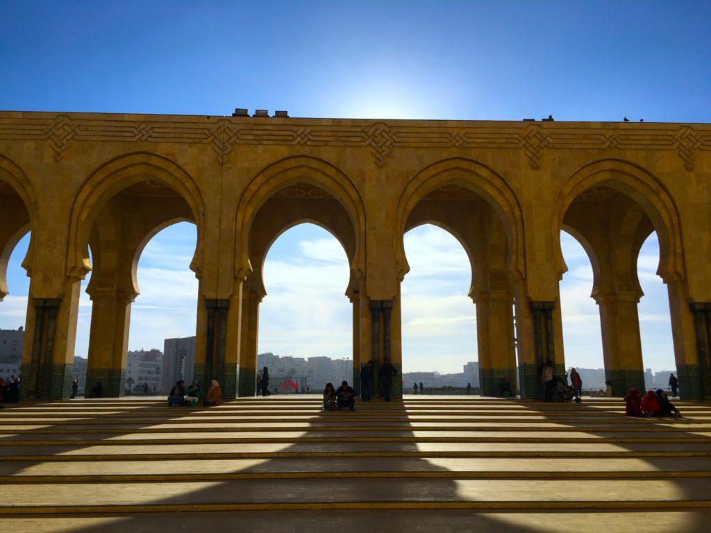 Sit in the Casablanca mosque courtyard and enjoy the sunshine