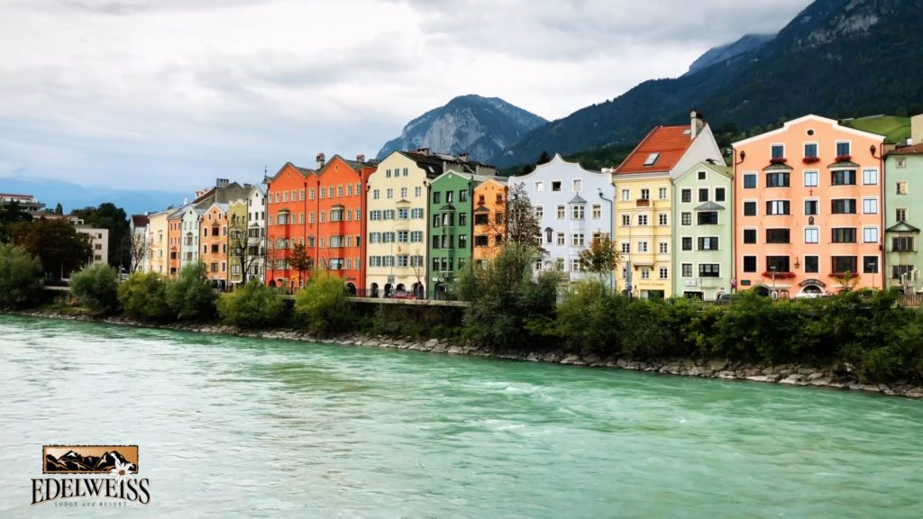 A scenic town along the alps