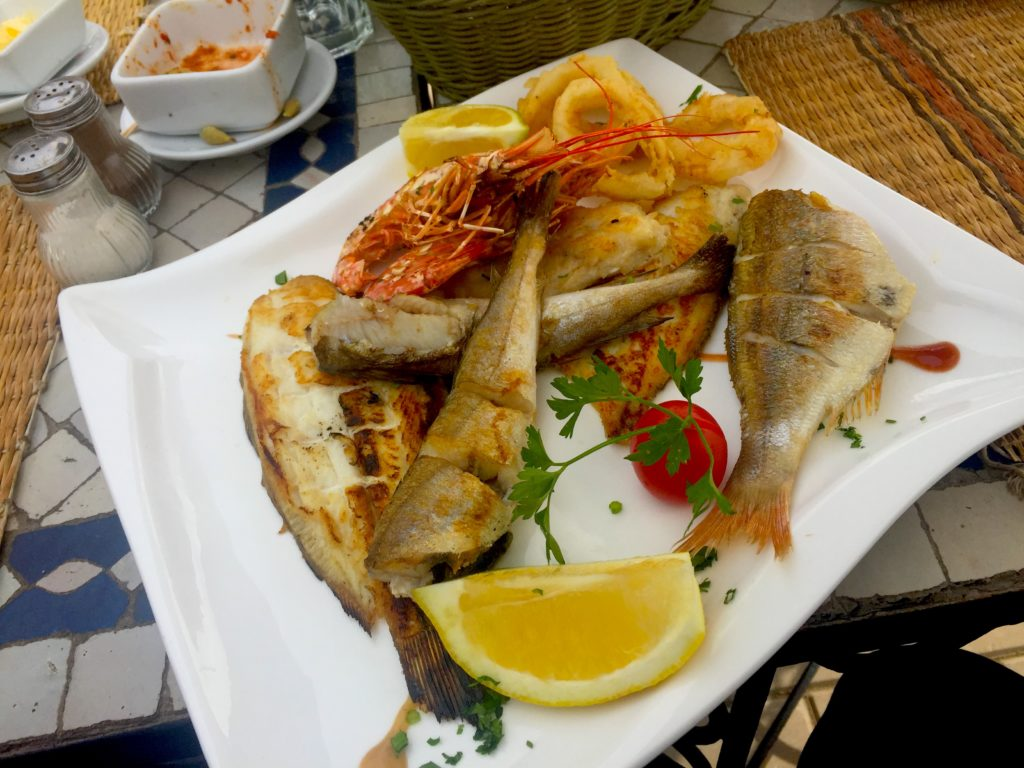 Fresh fish, shrimp, and calamari are all easy to find in the fishing harbor of Essaouira, Morocco!