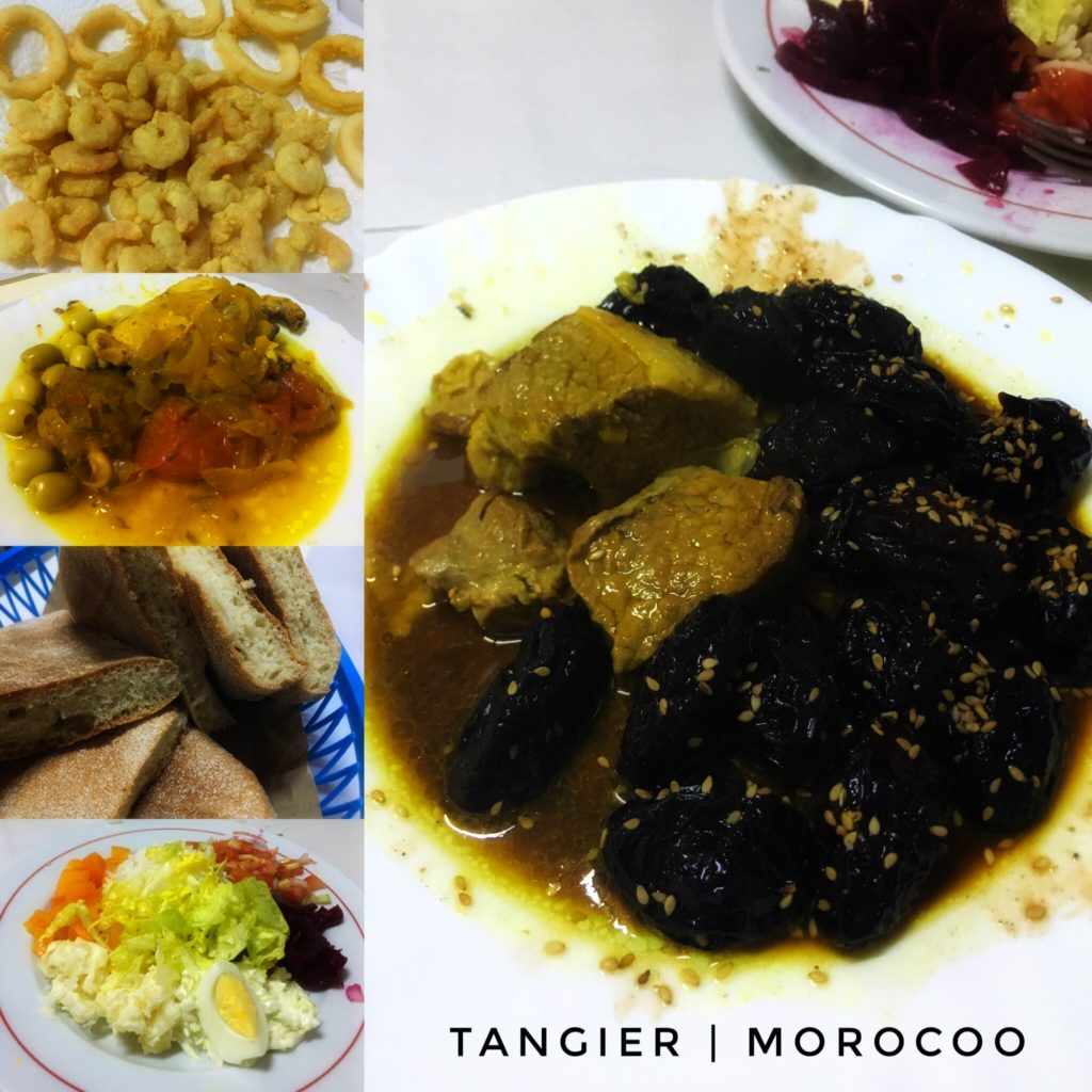 salad, bread, dates, chicken and olives, fried calamari - enjoy a feast in Tangier!