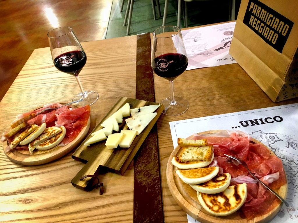 Meat, cheese, and wine are always a good choice in Italy. Enjoy this set up at FICO Eataly World outside of Bologna!