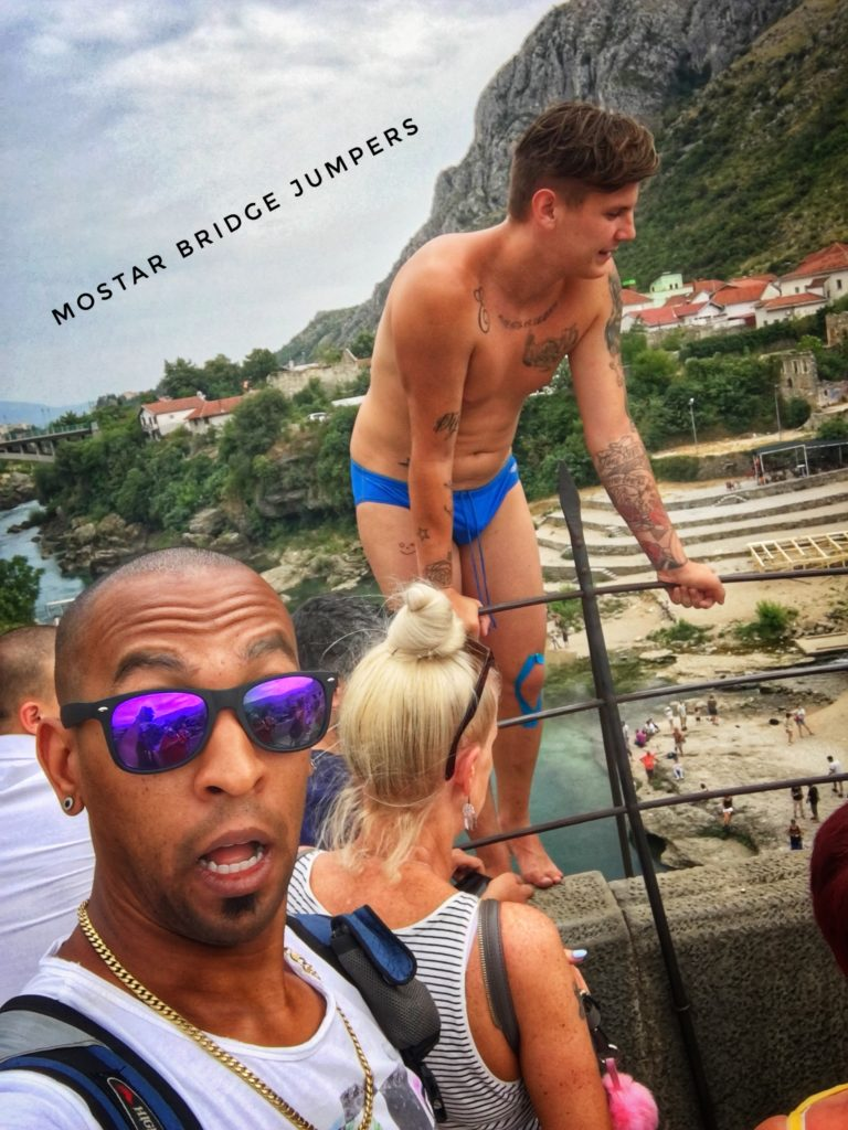 It's not uncommon to see people jump in bathing suits off the Mostar bridge in Bosnia!