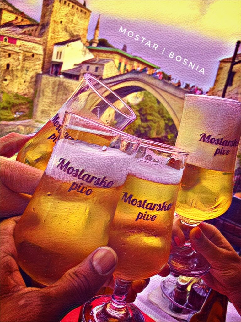 Prost! Enjoy a beer on the Neretva river in Mostar