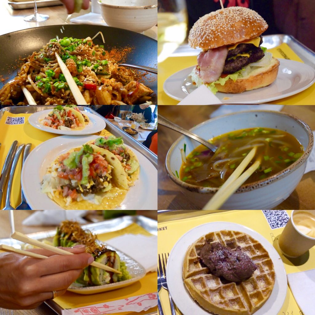 The Kiev Food Market has a variety of cuisines! Cooper Burgers, Santos Tacos, Milk (waffle dessert), Bao Nam (pho bowls), Senpai sushi, and Thai Sabai