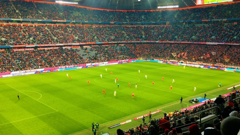 While the Allianz Arena can seat 75,000 people, nearly every seat has a great view of the FC Bayern Munich football field