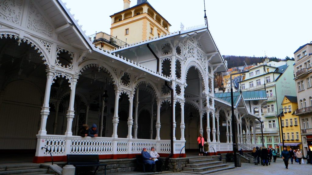 The Market Colonnade in Karlovy Vary is a beautiful structure with hot springs inside.