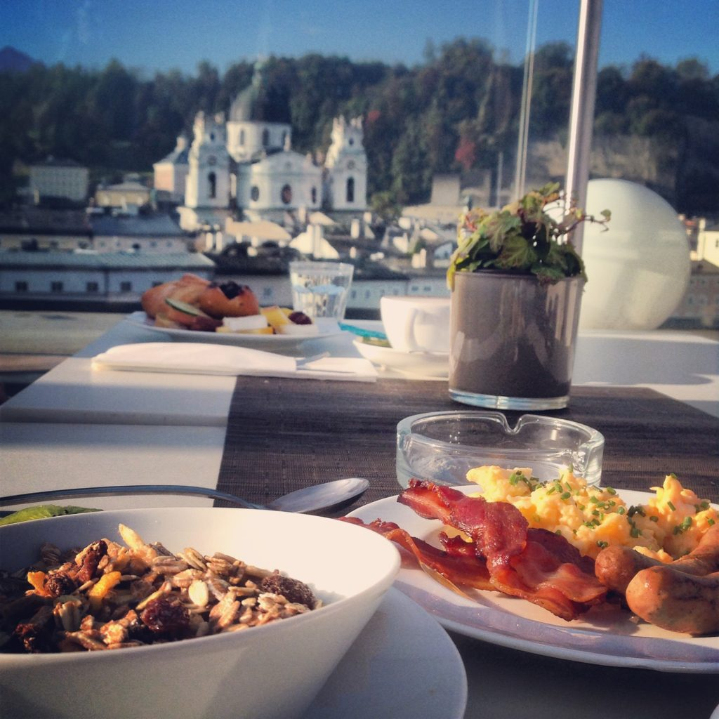 Breakfast at Hotel Stein in Salzburg comes with an amazing view of the city!
