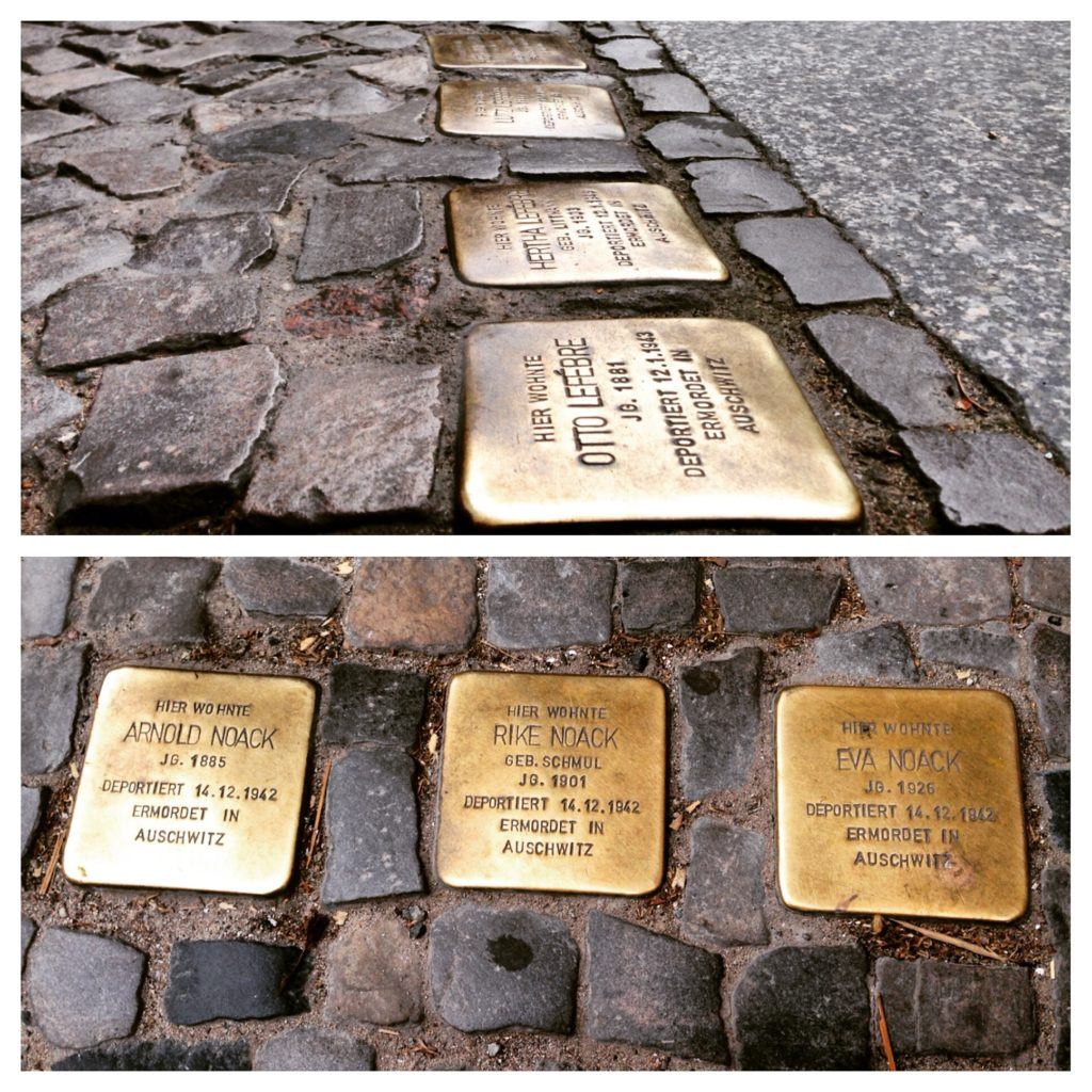 "Stolperstein means ""stumbling stone"" in German. They are installed in front of homes where people were taken by the Nazis"