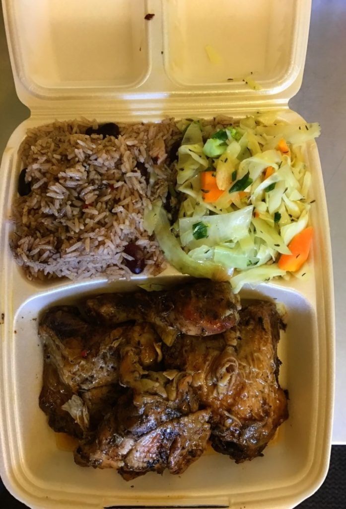 Jerk chicken dish from Caribbean Grill