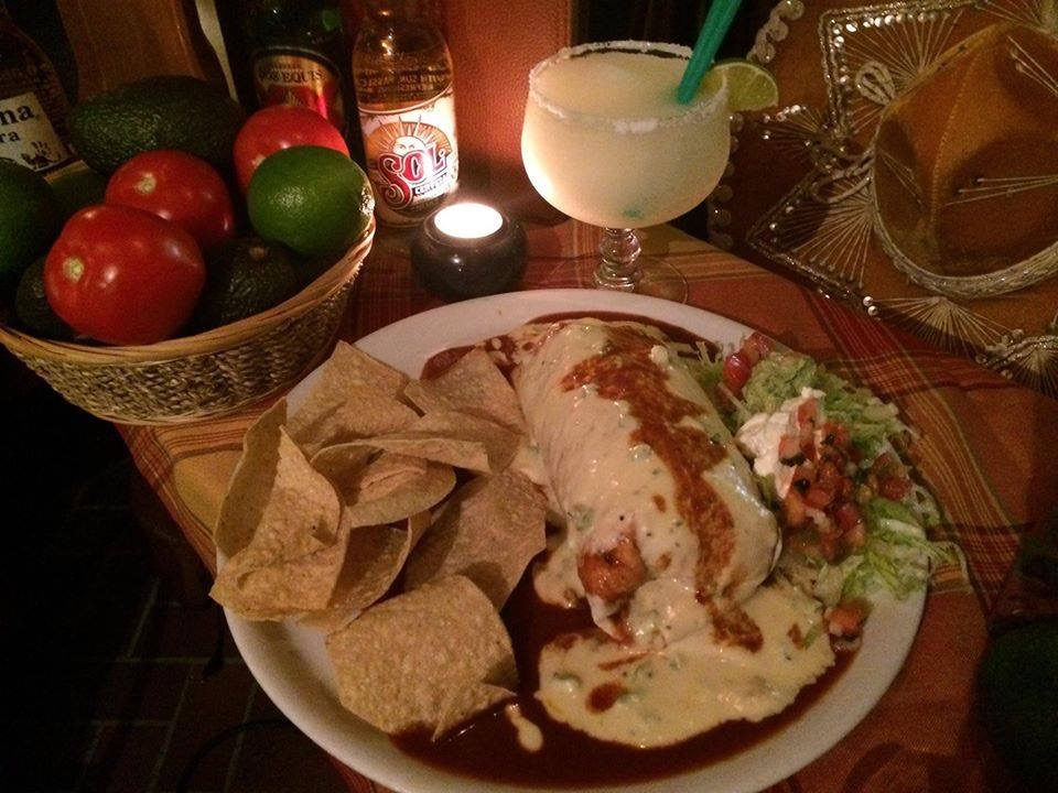 Giant burrito and margarita drink from Tortuga Tex Mex