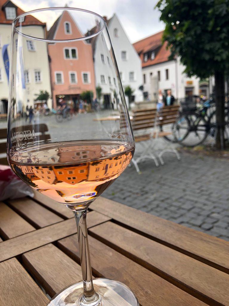 Rose wine at Hansel & Gretel restaurant downtown Weiden