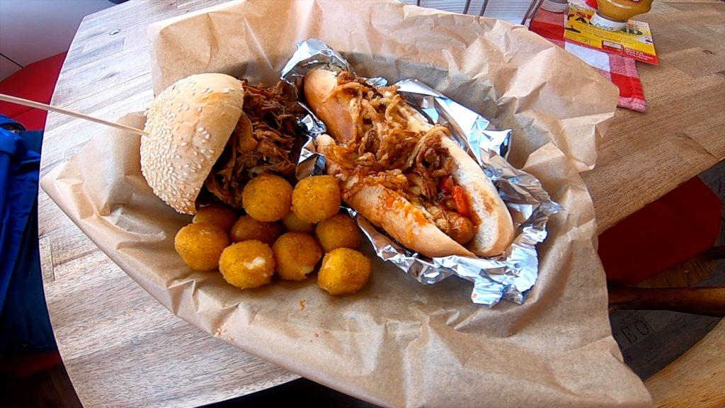 Mama's BBQ burger and hot dog tater tots