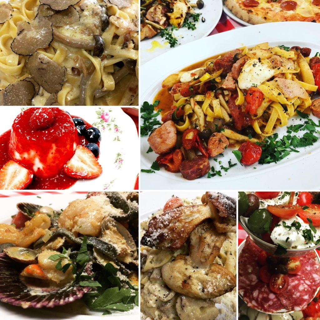 Different Italian dishes at Trattoria Bologna