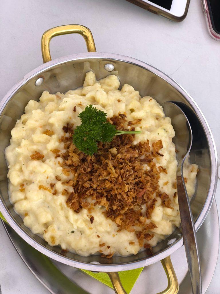 Spätzle dish at Piazza del Monte in Monte Kaolino Hirschau Germany