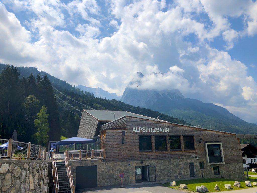 Alpspitzbahn mountain cable car station in garmisch