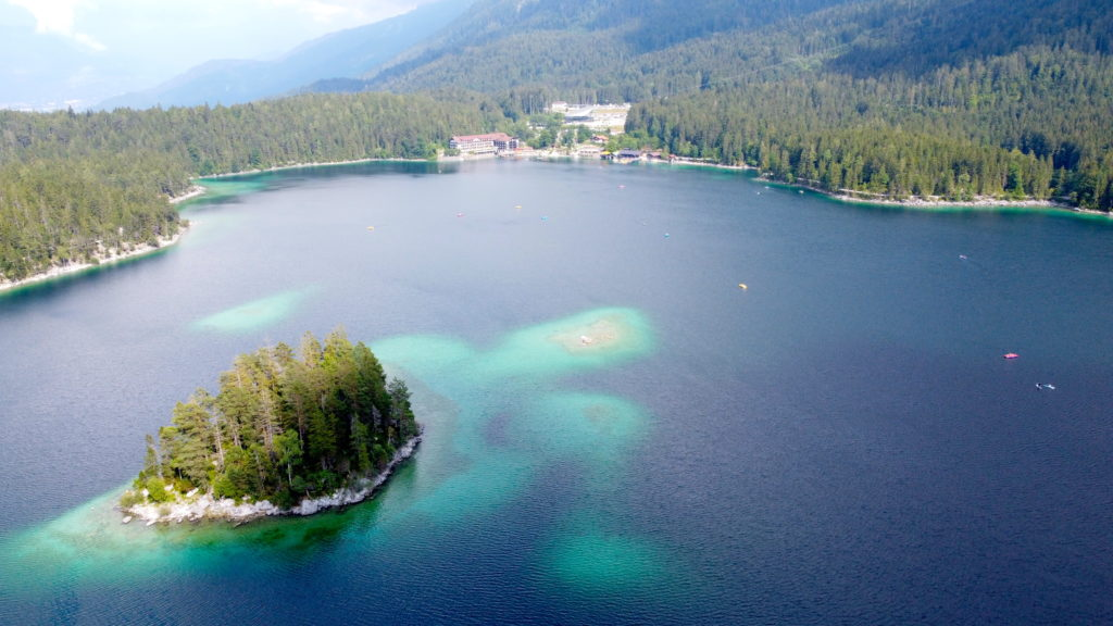 Aerial view of the Eibsee in Garmisch Germany