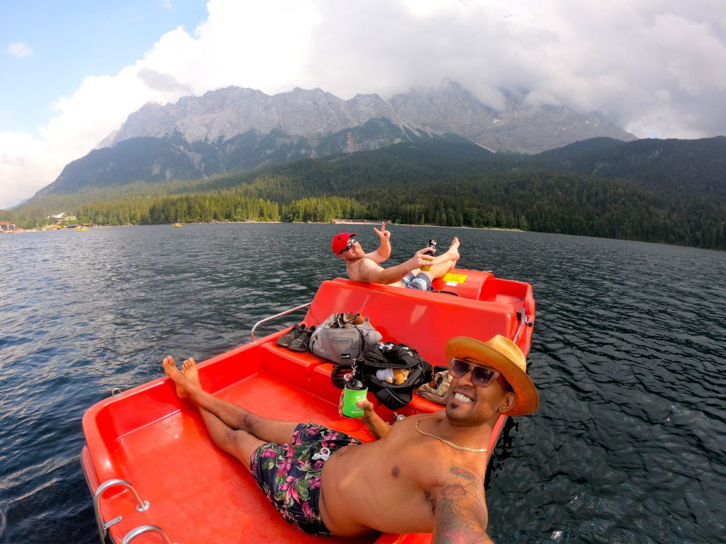 Relaxing on a pedal boat in the middle of the Eibsee in Garmisch Germany