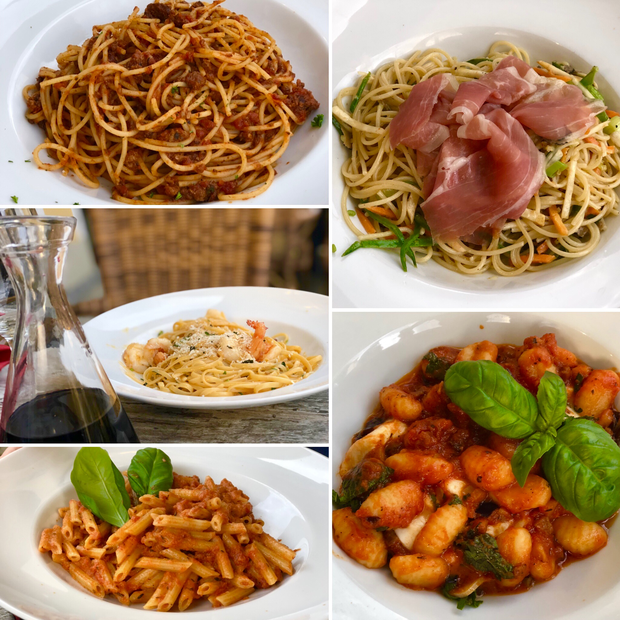Various pasta dishes at la spelonca in garmisch germany