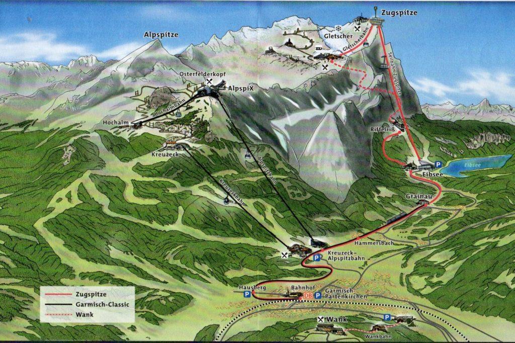 Map of Zugspitze, Wank, and the Garmisch Classic