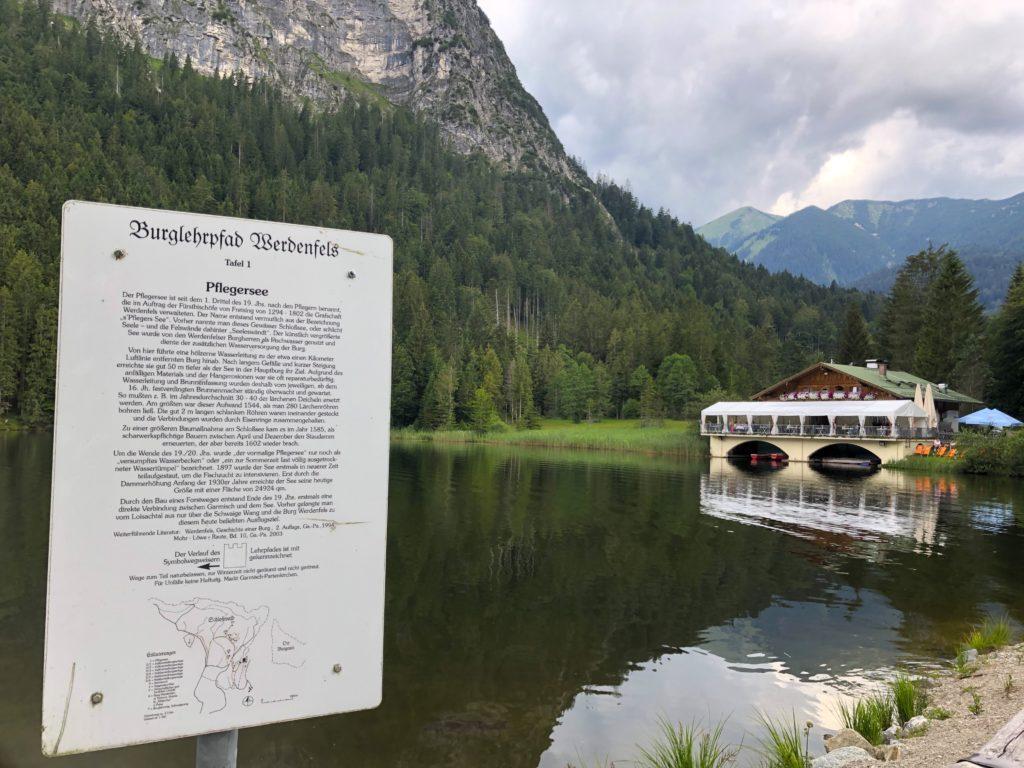 Pflegersee and restaurant in Garmisch Germany