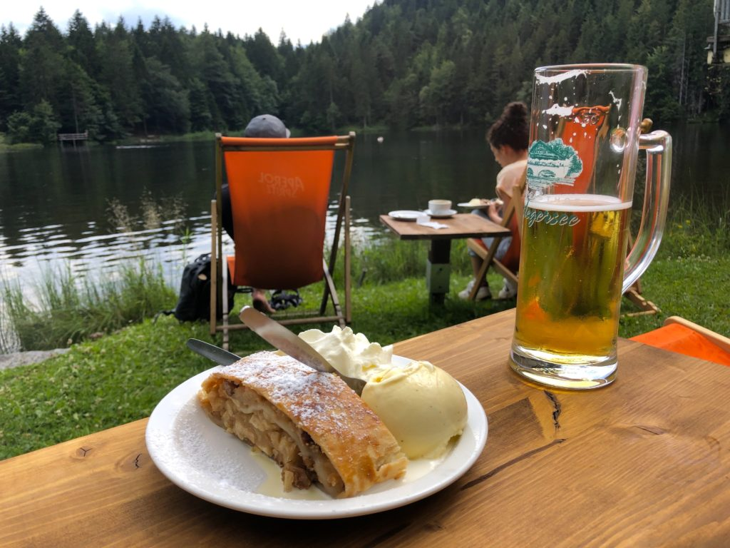 Appel strudel with ice cream and beer on the Pflegersee in Garmisch Germany
