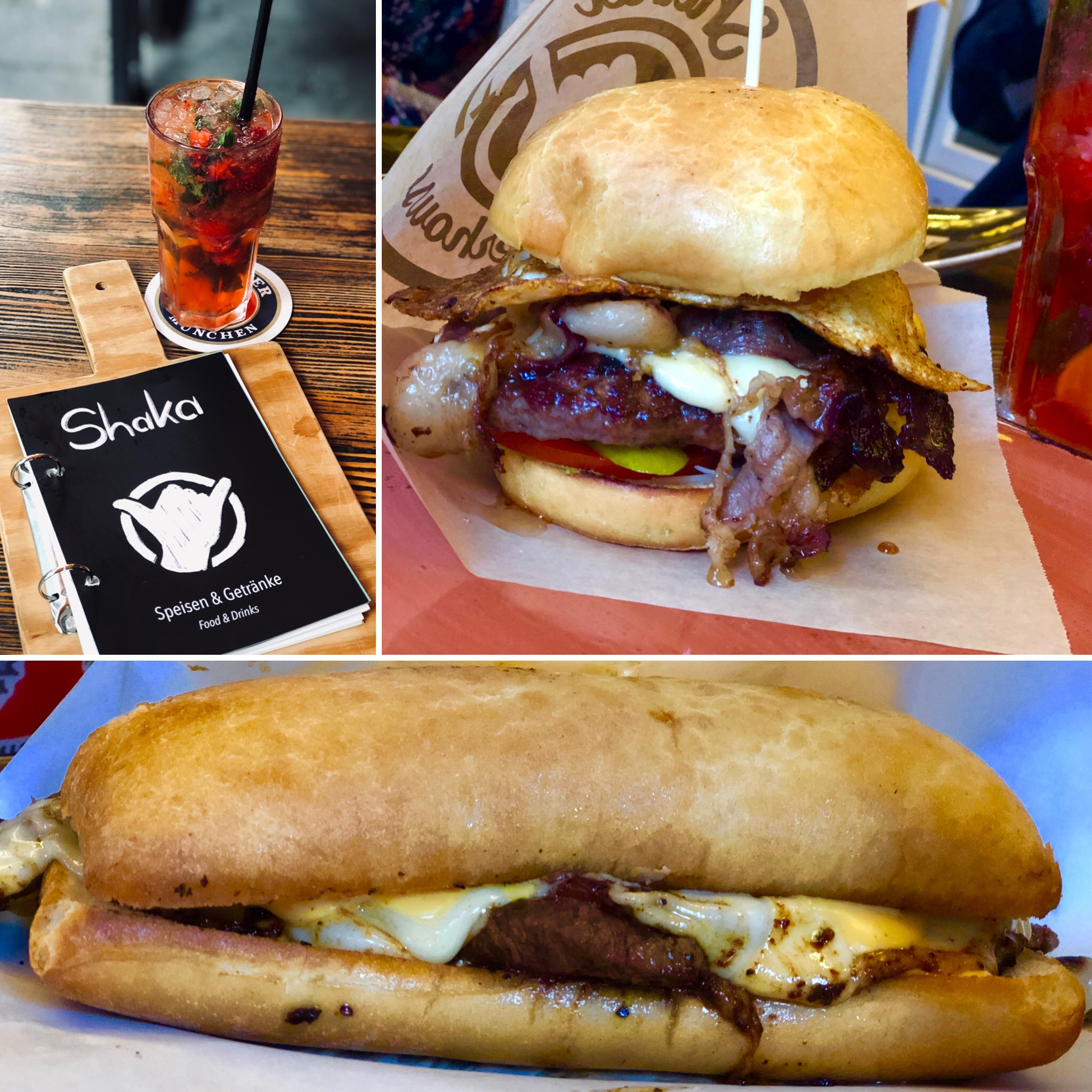 Philly cheese steak sandwich, and bacon cheese burger at Shaka in Garmisch Germany