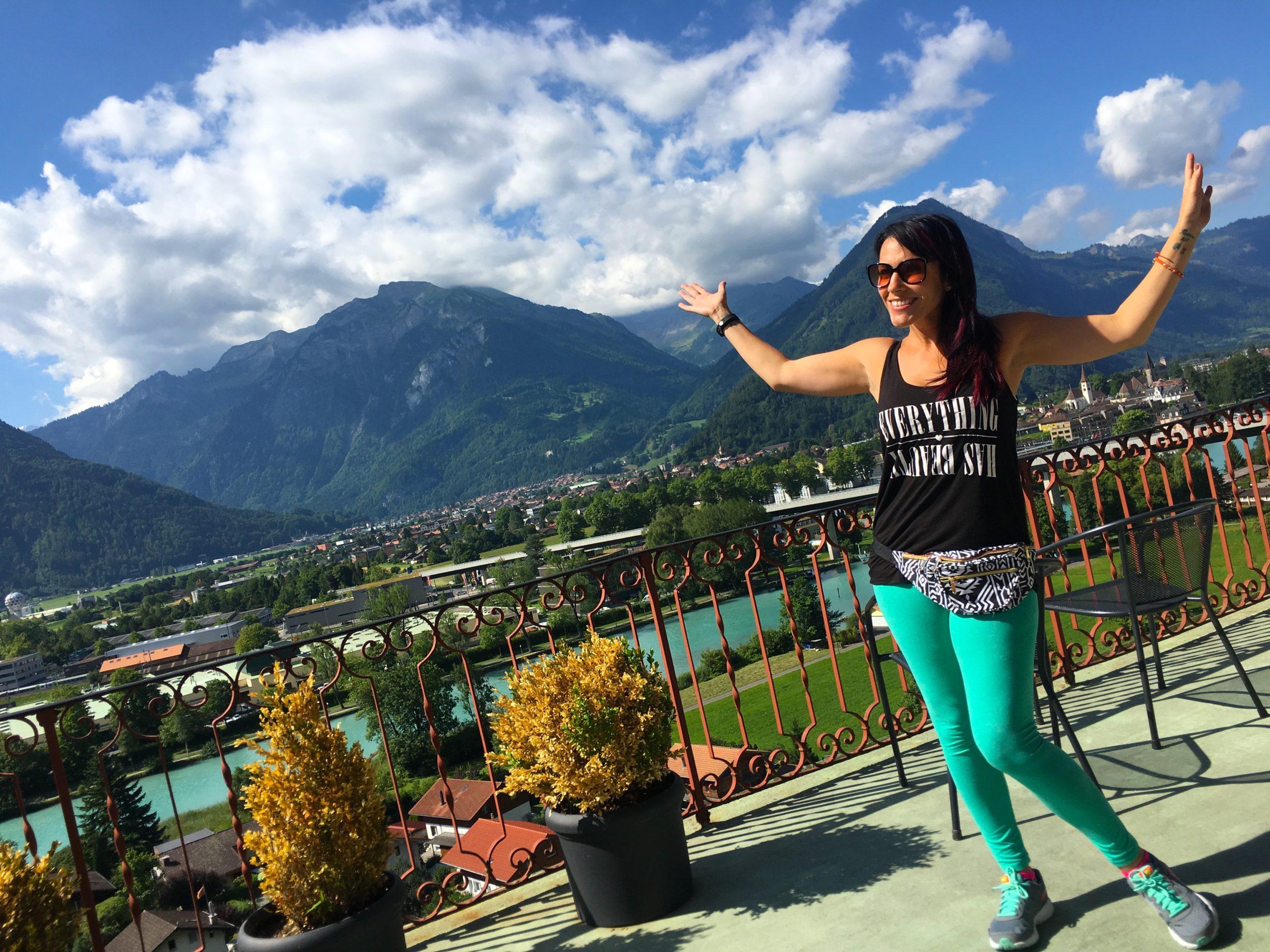Gasthof Schoenegg view from breakfast balcony in Interlaken Switzerland