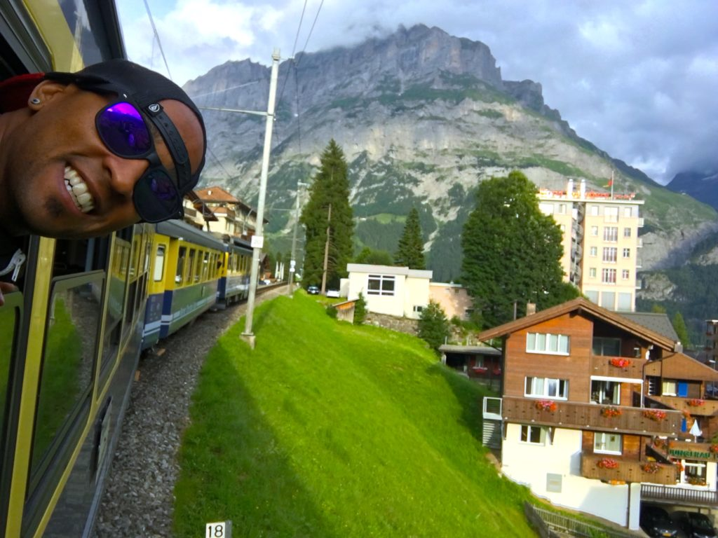 Riding the train from Interlaken to Grindelwald