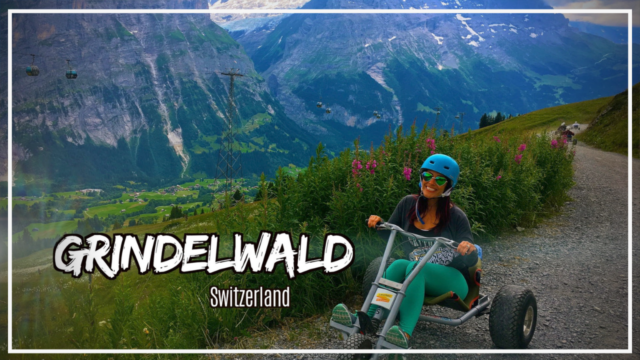 Riding the First Kart down the Jungfrau mountains in Grindelwald Switzerland