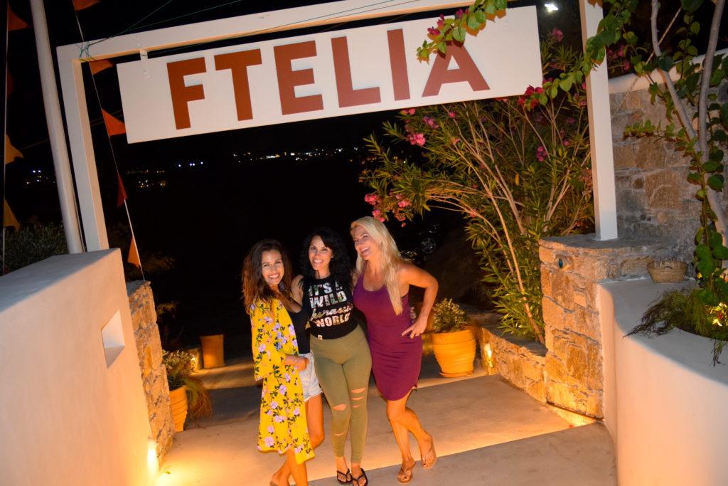 Eating at Ftelia Beach Club in Mykonos Greece