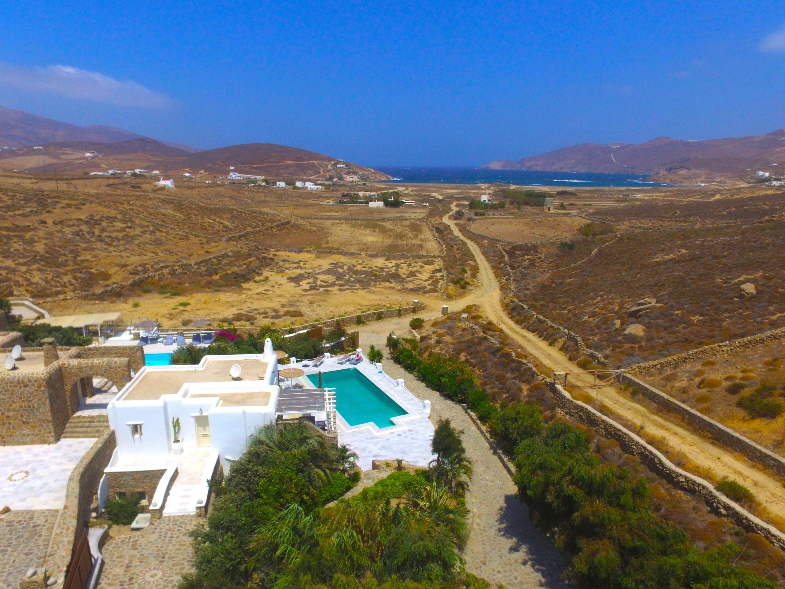 Aerial views of Mykonos Dream villas in Greece