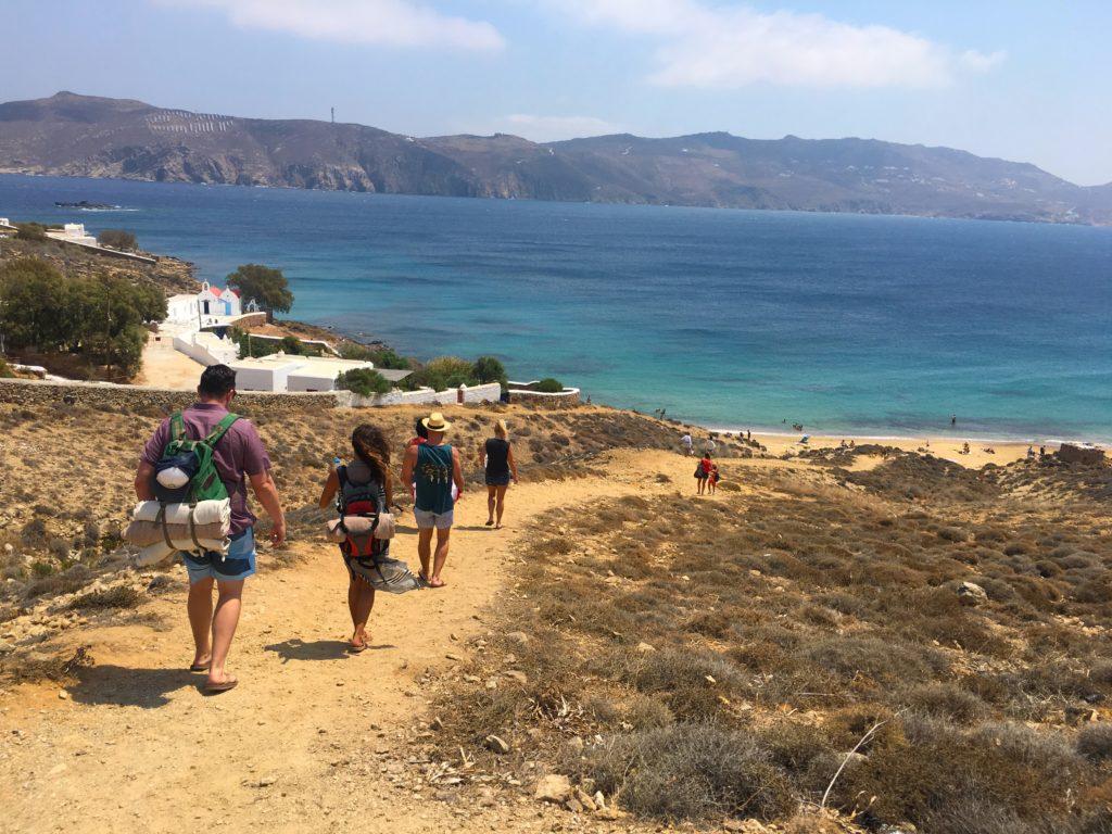 Walking down the cliff to Paralia Agios Sostis beach