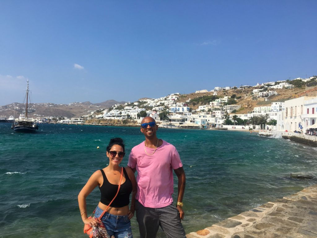 The beach harbor in downtown Mykonos Island