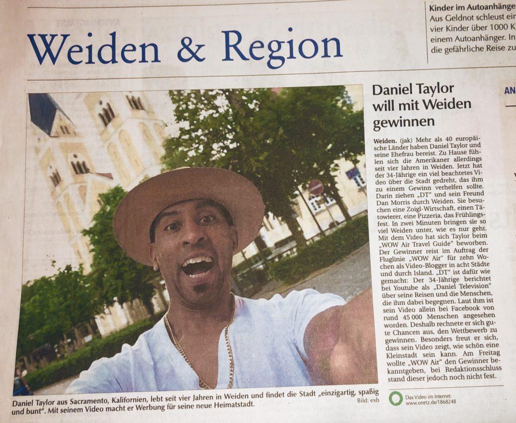 Weiden & Region news article about Daniel Taylor filming Weiden in der Oberpfalz